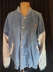 Vintage Apple Denim Varsity Jacket
